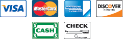 We Accept All Major Credit Cards, Cash, and Checks